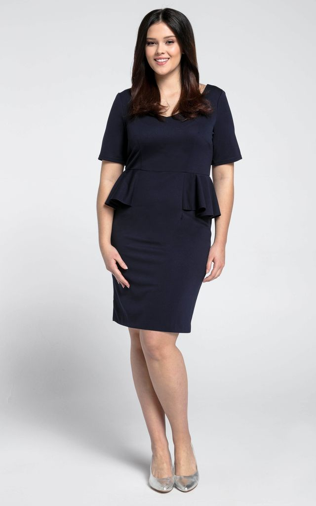 Short Sleeve Dress with Side Frills in Navy Blue by Bergamo