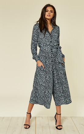 Leopard Culotte Shirt Jumpsuit Blue by Ruby Rocks Product photo