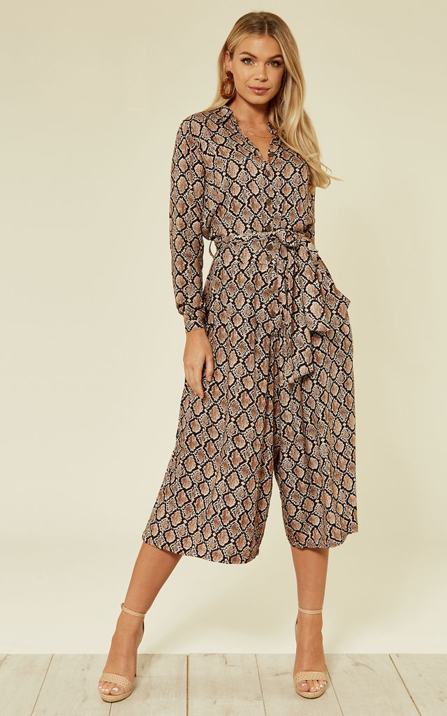 Culotte Shirt Jumpsuit Snake Print Brown by Ruby Rocks