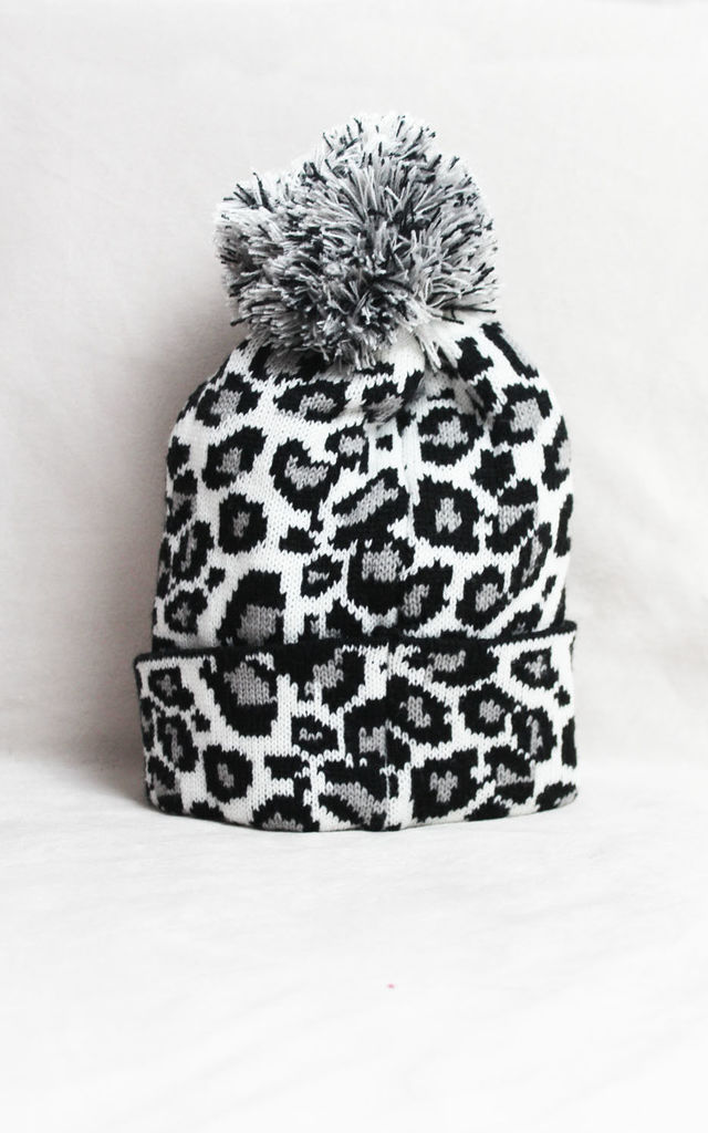 Leopard Print Beanie in Monochrome by Candypants