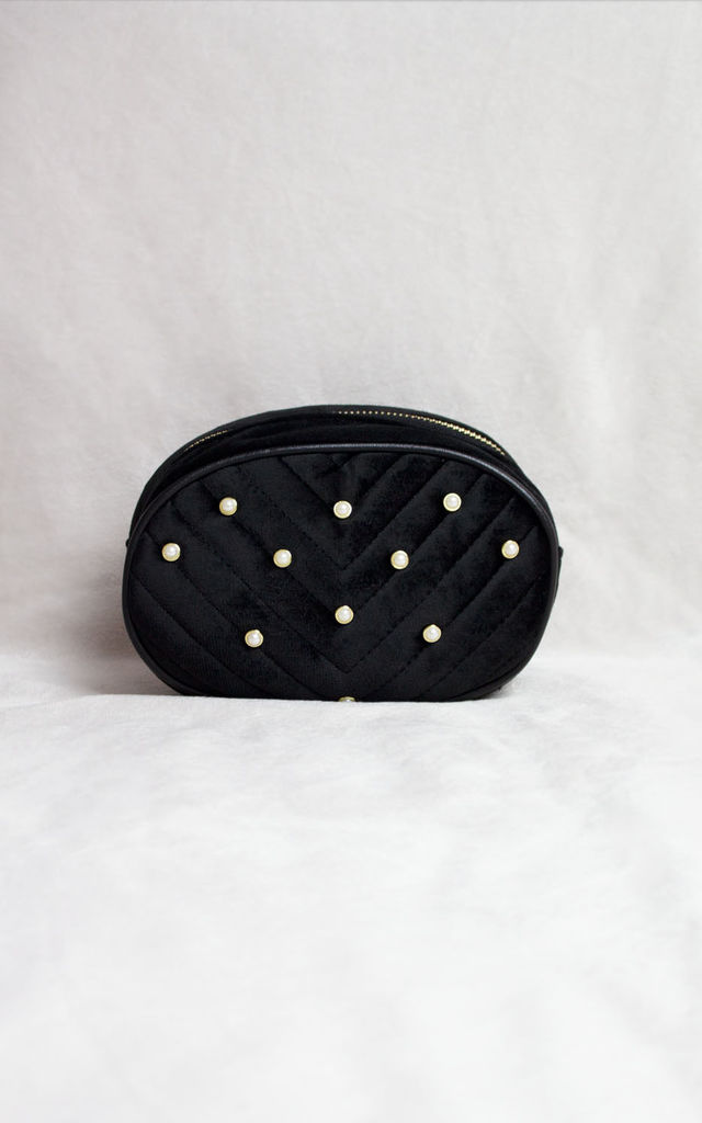 Black Velvet Belt Bag with Pearl Detail by Candypants