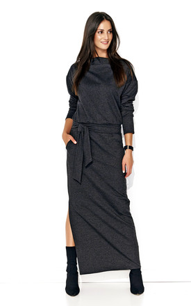 Long Sleeve Maxi Dress With Belt In Dark Grey by Makadamia Product photo