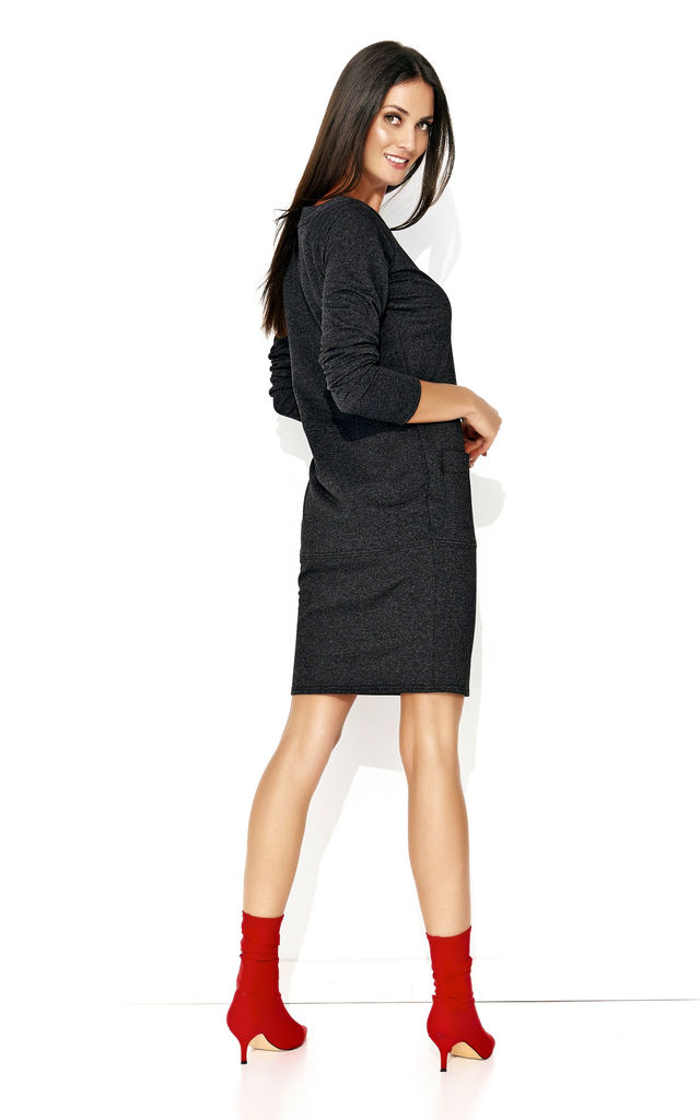 Graphite Fitted Long Sleeve Dress by Makadamia