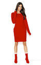 Red Fitted Long Sleeve Dress by Makadamia