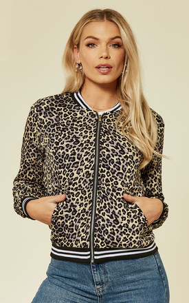 Leopard Bomber Jacket Grey by Ruby Rocks Product photo