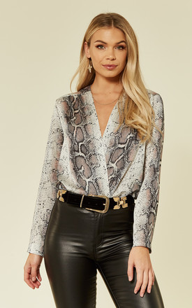 Animal Snake Skin Long Sleeve Wrap Bodysuit by URBAN TOUCH Product photo