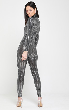 Empower Metallic Sequin Fitted Jumpsuit - Silver by Neish Clothing