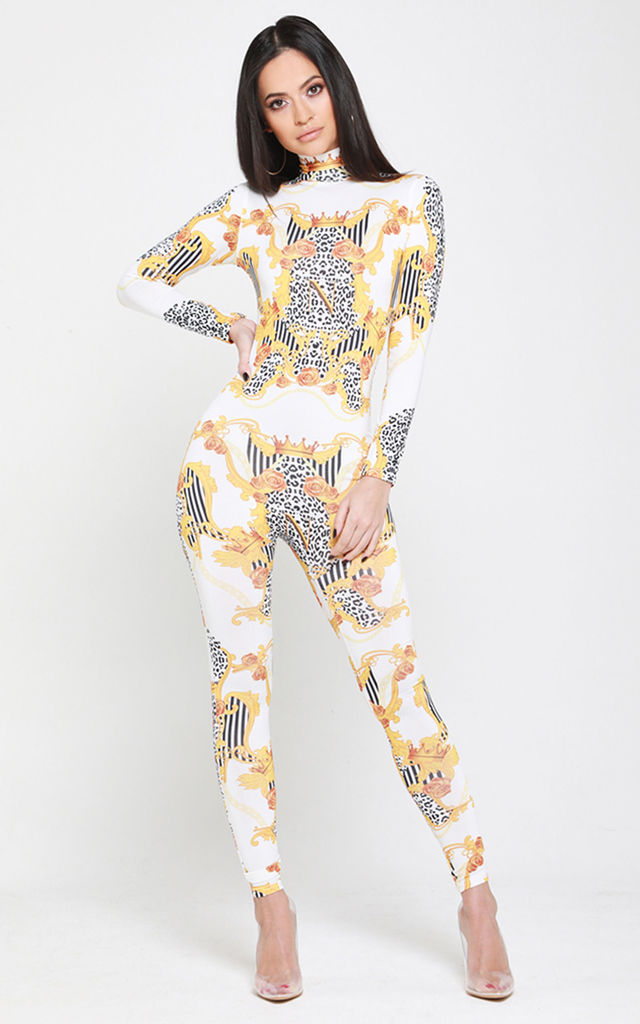 Empower Neish Print Fitted Jumpsuit - White by Neish Clothing