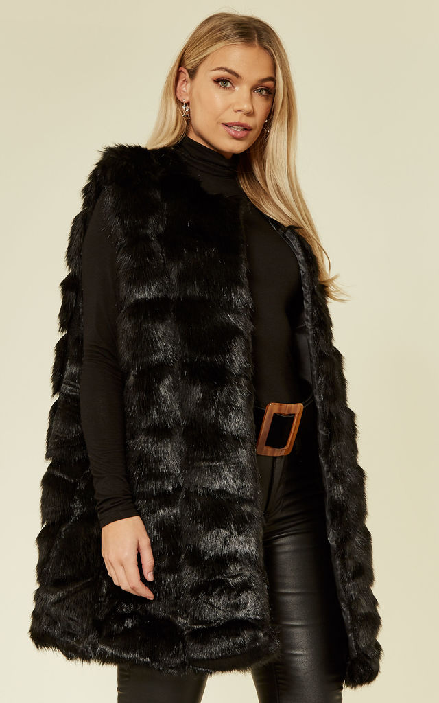 Luxury Oversized Gilet with Soft Faux Fur Panels in Black by CY Boutique
