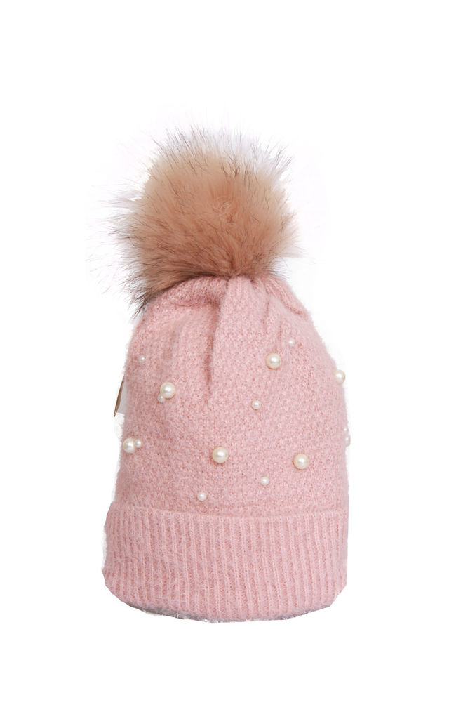 Pink Ultra Soft Wooly Mix Pearls FAUX Fur Bobble Pom Pom Beanie Hat by Urban Mist