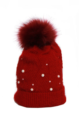 Red Ultra Soft Wooly Mix Pearls FAUX Fur Bobble Pom Pom Beanie Hat by Urban Mist