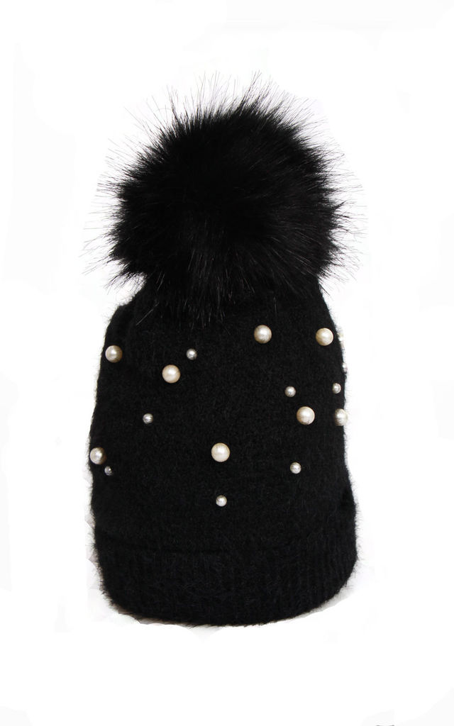 Black Ultra Soft Wooly Mix Pearls FAUX Fur Bobble Pom Pom Beanie Hat by Urban Mist
