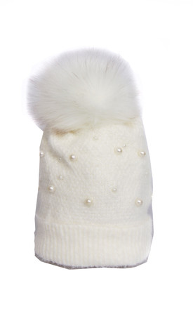 White Ultra Soft Knit Wooly Mix Pearls FAUX Fur Bobble Pom Pom Beanie Hat by Urban Mist