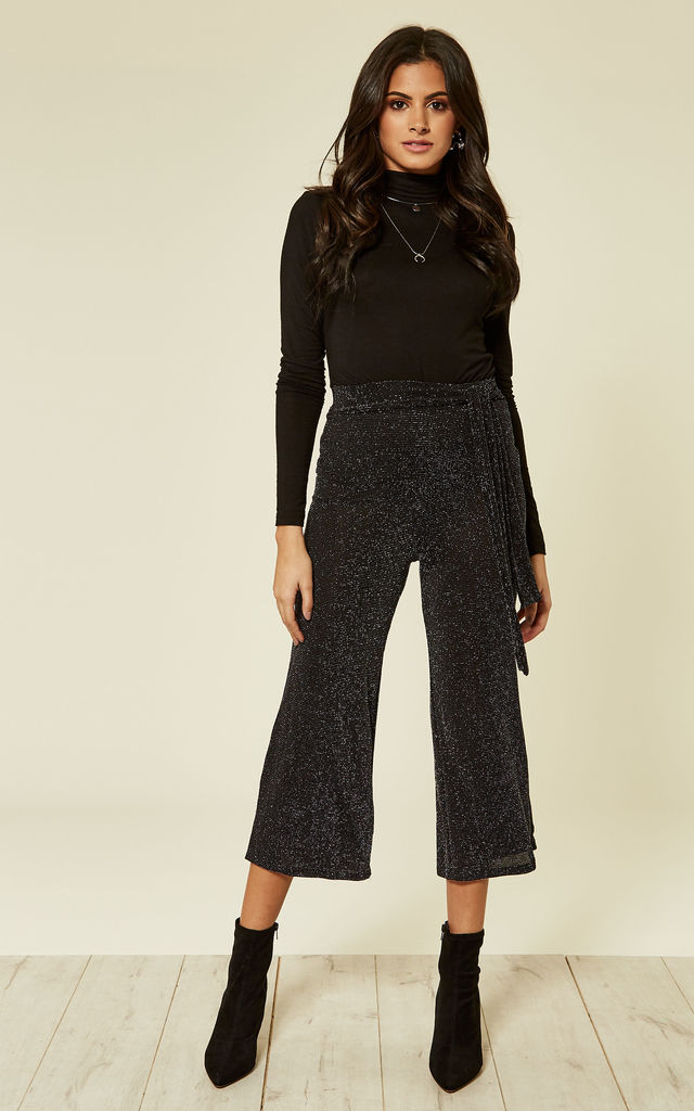 Lurex Black And Silver Party Trousers by Clothes Minded