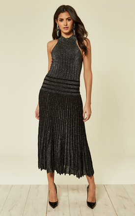 High Neck Pleated Metallic Dress In Black by CY Boutique Product photo