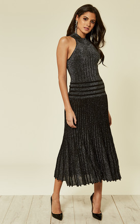 High Neck Pleated Metallic Dress in Black by CY Boutique
