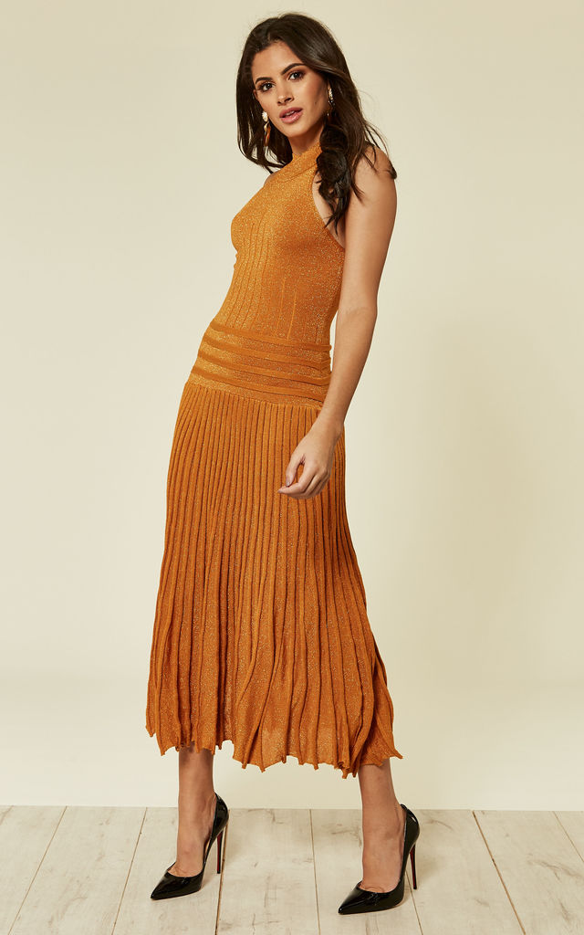 High Neck Pleated Metallic Dress in Gold by CY Boutique