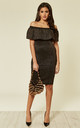 Bodycon Metallic Frill Bardot Bandage Dress in Gold/Black by CY Boutique
