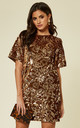 VELVET TSHIRT DRESS WITH GOLD SEQUIN by FLOUNCE LONDON