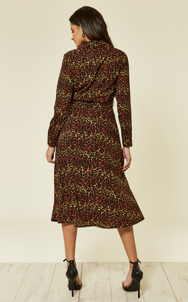 Multi Leopard Print Midi Shirt Dress by Clothes Minded
