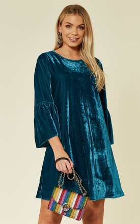 Greta 70's Long Sleeve Mini Occasion Teal Blue Velvet Dress by Bright & Beautiful Product photo