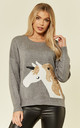 Jumper with Sequin Embellished Unicorn in Grey by CY Boutique