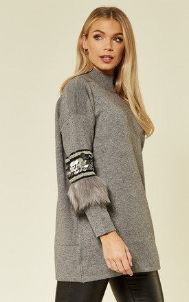 Long Sleeve Jumper with Sequin and Faux Fur Trim Sleeves in Grey by CY Boutique