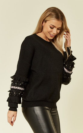 Black Knitted Jumper with Floral & Crystal Embellished Sleeves by CY Boutique