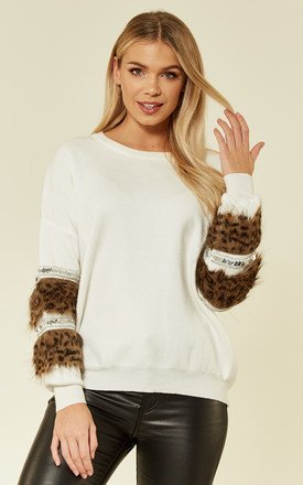 Jumper with Leopard Print Faux Fur Embellished Sleeves in White by CY Boutique