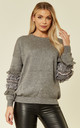 Grey Knitted Jumper with Floral & Crystal Embellished Sleeves by CY Boutique