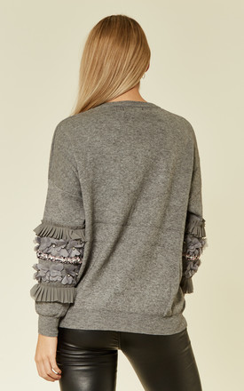 Knitted Jumper with Floral and Crystal Embellished Sleeves in Grey by CY Boutique