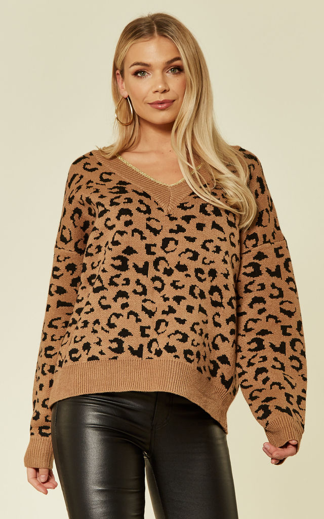 Soft Knit Jumper in Brown Leopard Print by CY Boutique