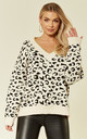 Soft Knit Jumper in Black and White Leopard Print by CY Boutique