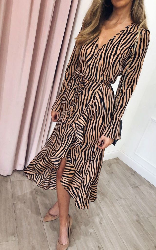 Valery Wrap Midi Dress - Zebra by Pretty Lavish