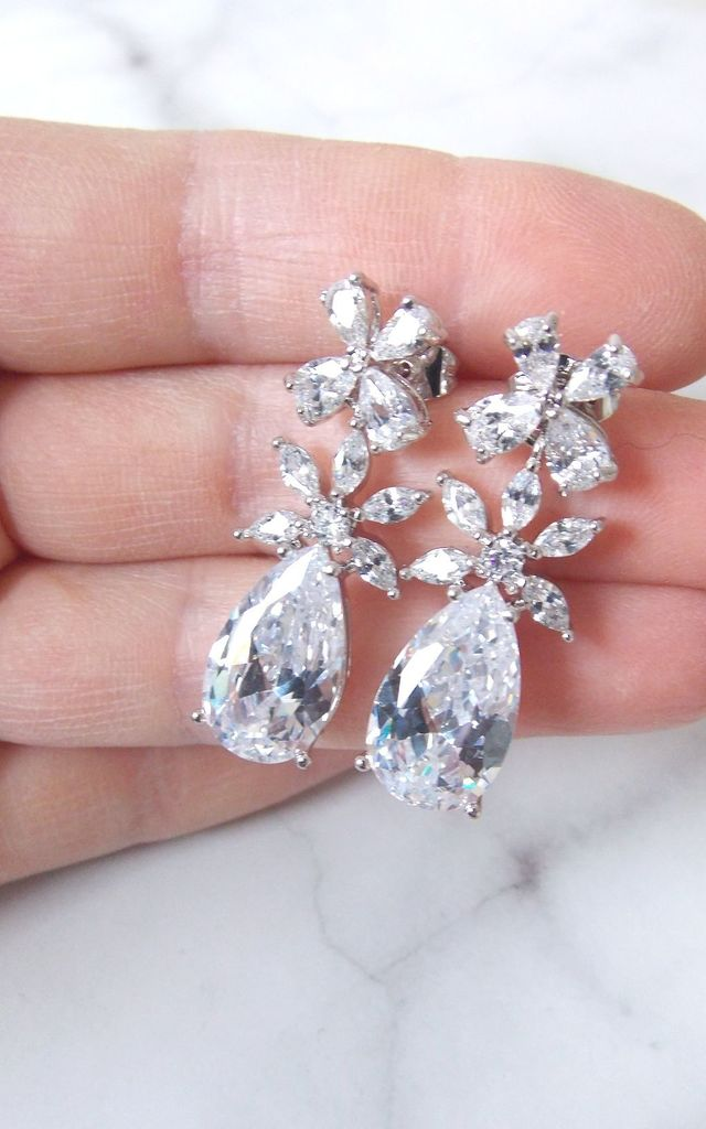 Silver Crystal CZ Floral Bridal Style Earrings by Olivia Divine Jewellery