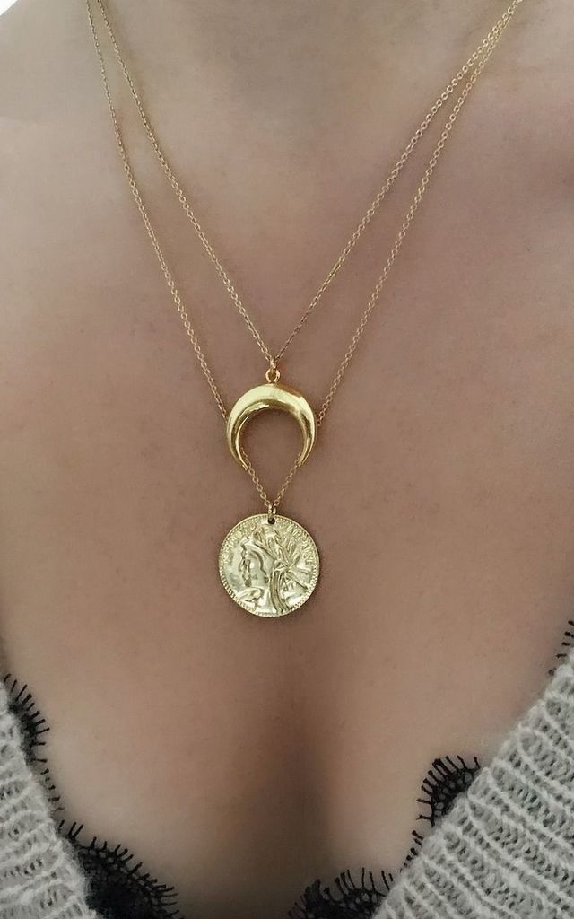 Crescent Moon & Coin Layered Gold Chain Necklaces by Gold Lunar