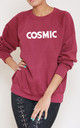 Cosmic Slogan Burgundy Oversized Sweater (Variant) by Top Threads