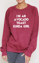 I'm An Avocado Toast Kinda Girl Slogan Burgundy Oversized Sweater (Variant) by Top Threads