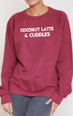 Coconut Latte And Cuddles Slogan Burgundy Oversized Sweater (Variant) by Top Threads