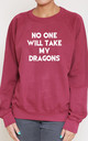 No One Will Take My Dragons Slogan Burgundy Oversized Sweater (Variant) by Top Threads