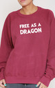 Free As A Dragon Slogan Burgundy Oversized Sweater (Variant) by Top Threads