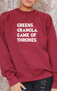 Greens. Granola. Game Of Thrones Slogan Burgundy Oversized Sweater (Variant) by Top Threads