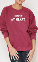 Hippie At Heart Slogan Burgundy Oversized Sweater (Variant) by Top Threads