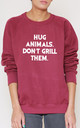 Hug Animals. Don't Grill Them Slogan Burgundy Oversized Sweater (Variant) by Top Threads