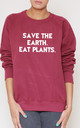 Save The Earth. Eat Plants. Slogan Burgundy Oversized Sweater (Variant) by Top Threads