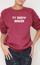 Tv Show Binger Slogan Burgundy Oversized Sweater (Variant) by Top Threads