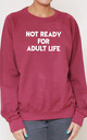 Not Ready For Adult Life Slogan Burgundy Oversized Sweater (Variant) by Top Threads