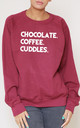 Chocolate. Coffee. Cuddles. Slogan Burgundy Oversized Sweater (Variant) by Top Threads