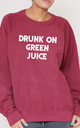 Drunk On Green Juice Slogan Burgundy Oversized Sweater (Variant) by Top Threads