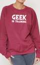 Geek In Training Slogan Burgundy Oversized Sweater (Variant) by Top Threads
